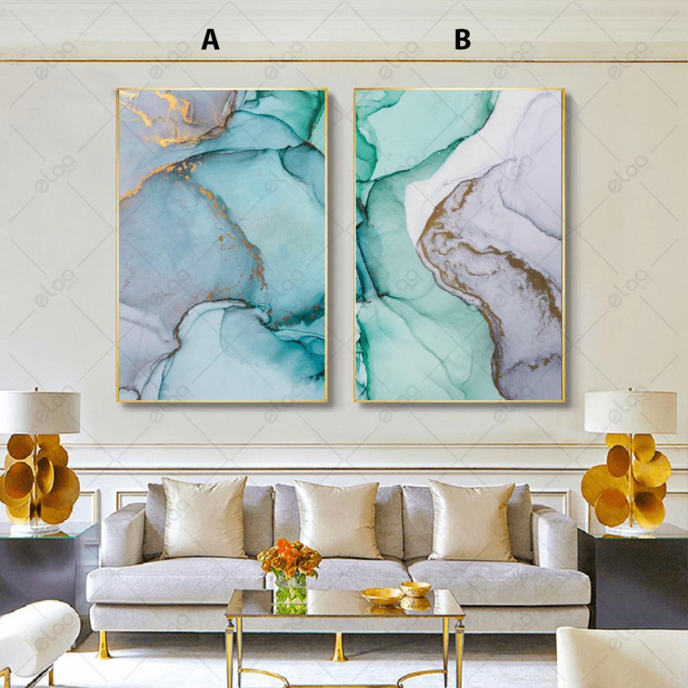 لوحات فن تجريدي درجات الرمادي والفيروزي مخلوطة بماء الذهب