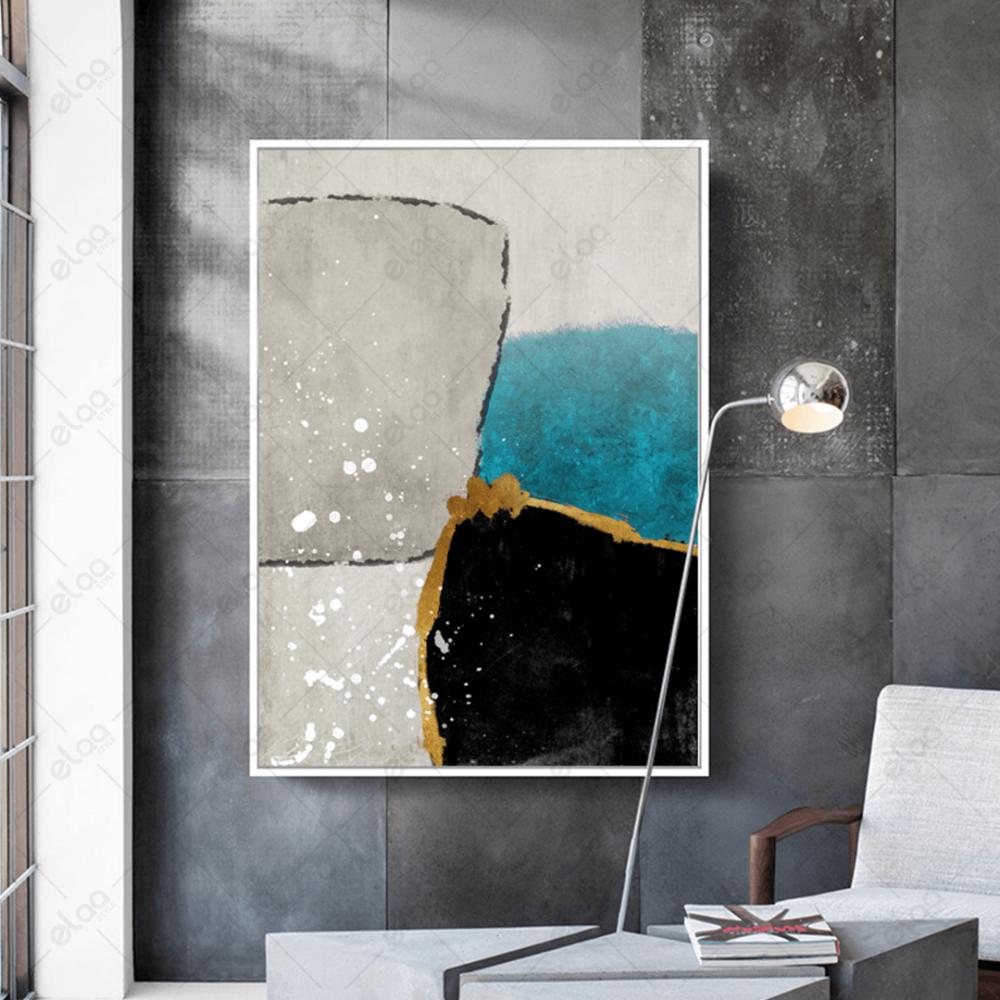 لوحة فن تجريدي لدرجات التركواز والاسود بخلفية بيج