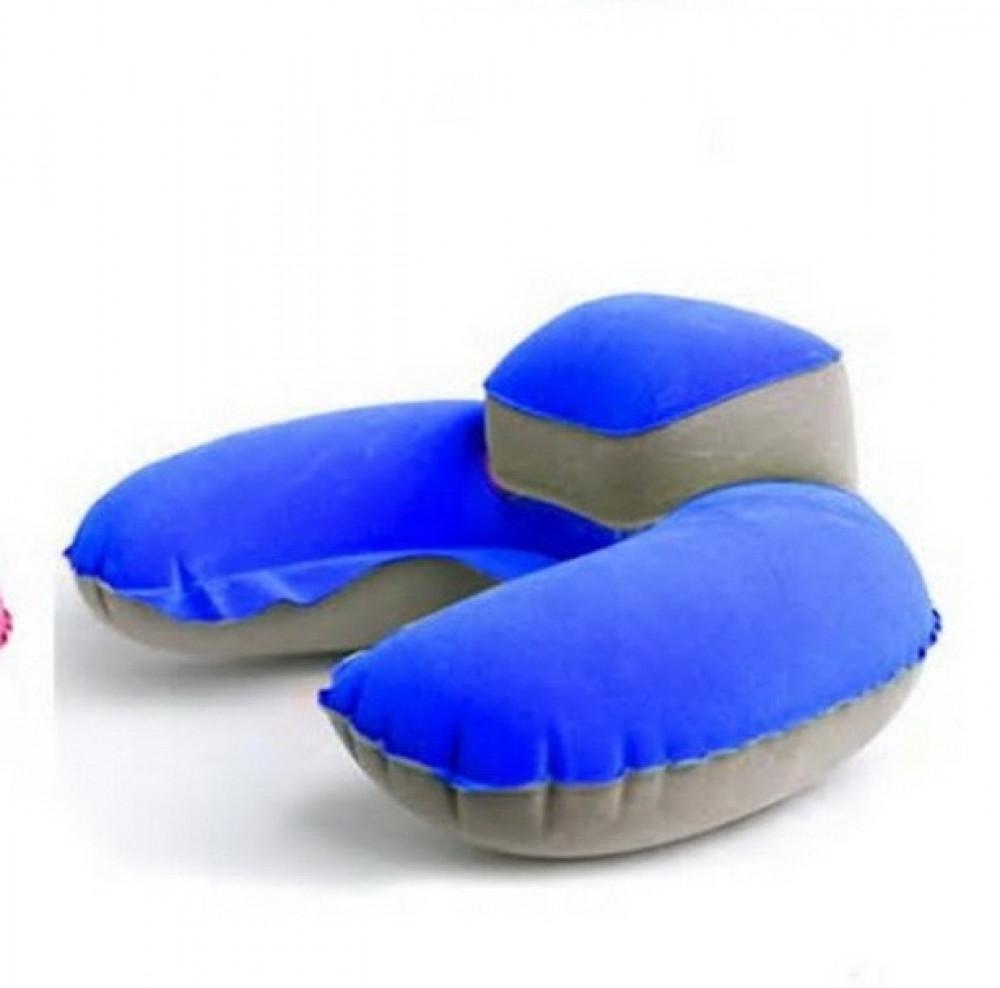 وسادة رقبة على شكل U محمولة مريحة للسفر مصنوعة من مادة PVC لون أزرق