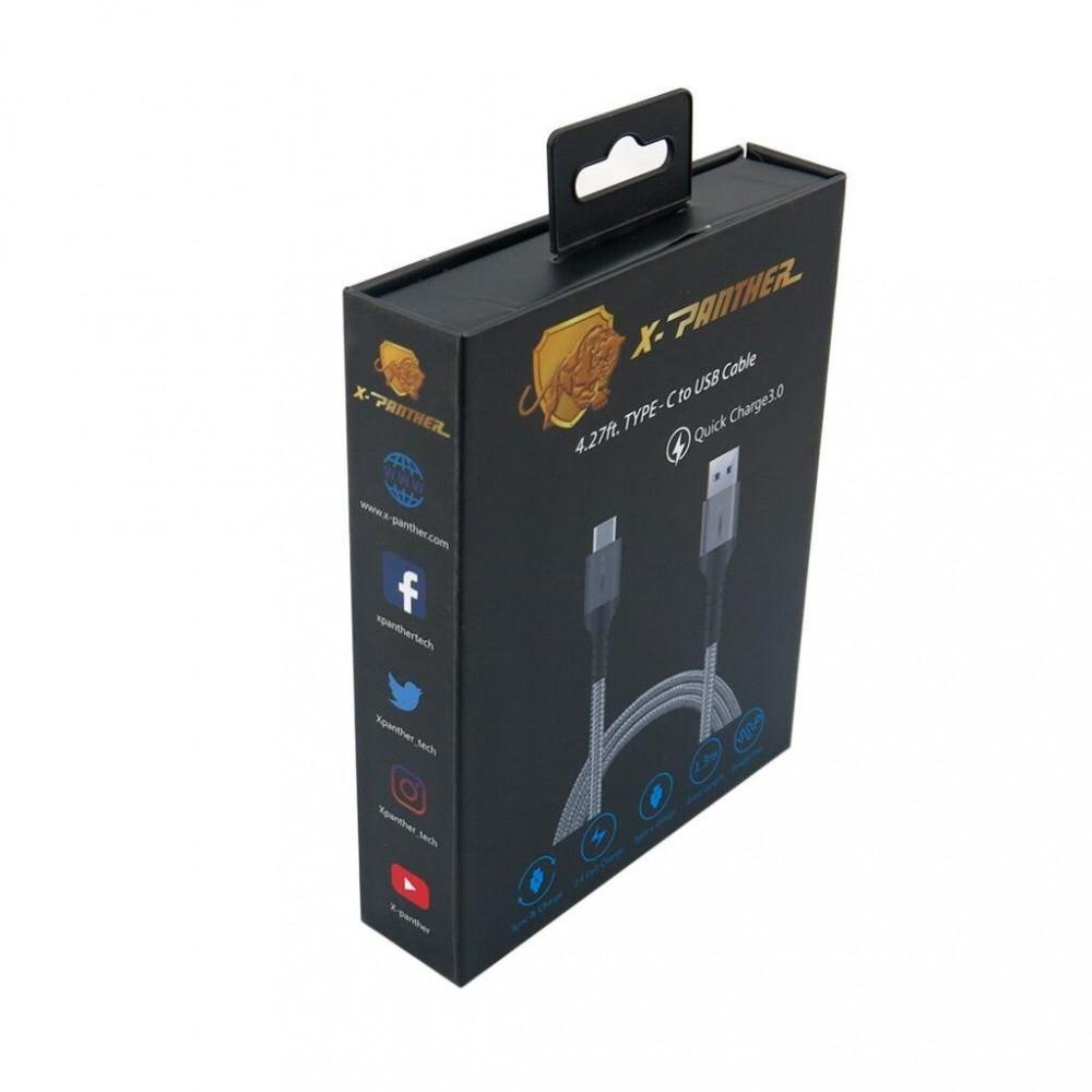 كيبل تايب سي 130 سم مقاوم للقطع ومعتمد من USB من اكس بانثر