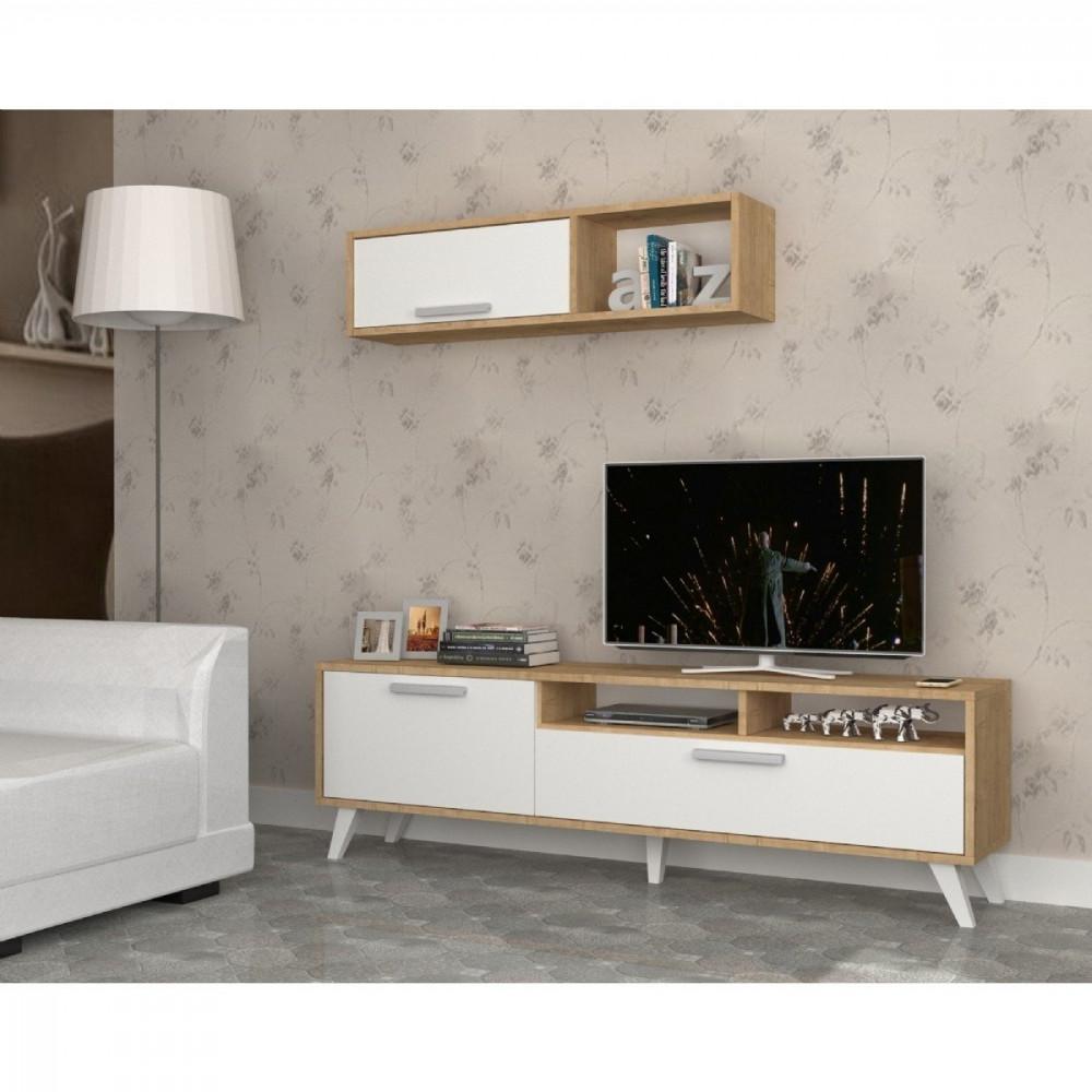مواسم طاولة تلفاز مكونة من قطعتين تحتوي على رفوف ووحدات تخزين