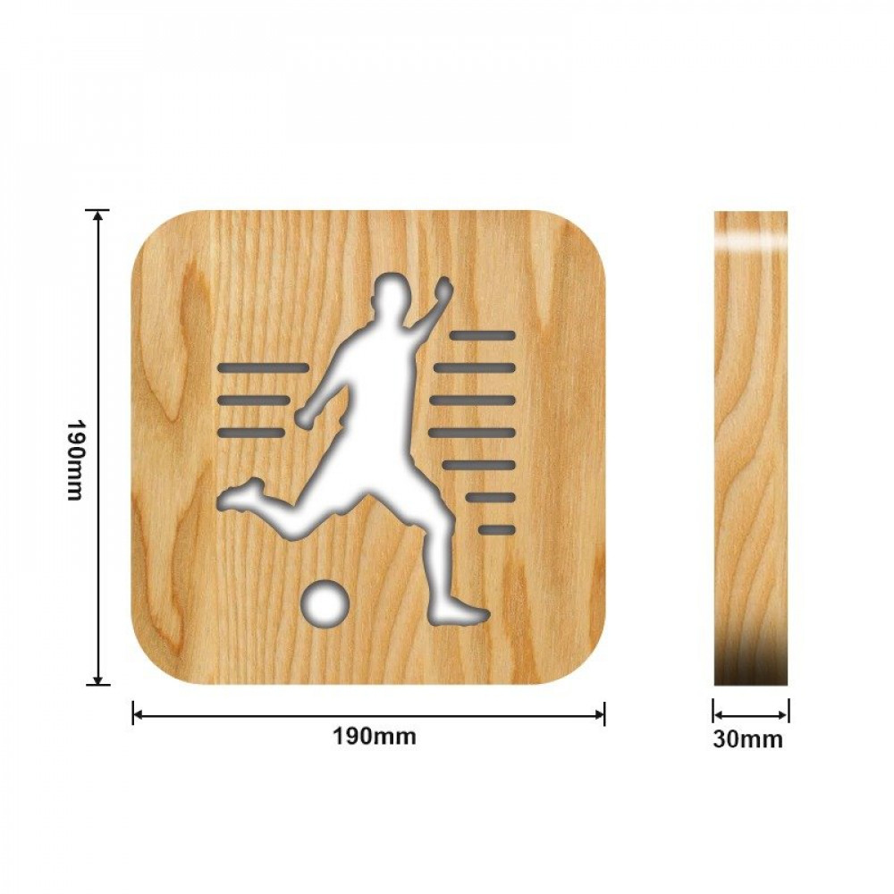 مواسم تحفة لاعب كرة مضيئة خشبية القياسات التفصيلية للقاعدة والتحفة