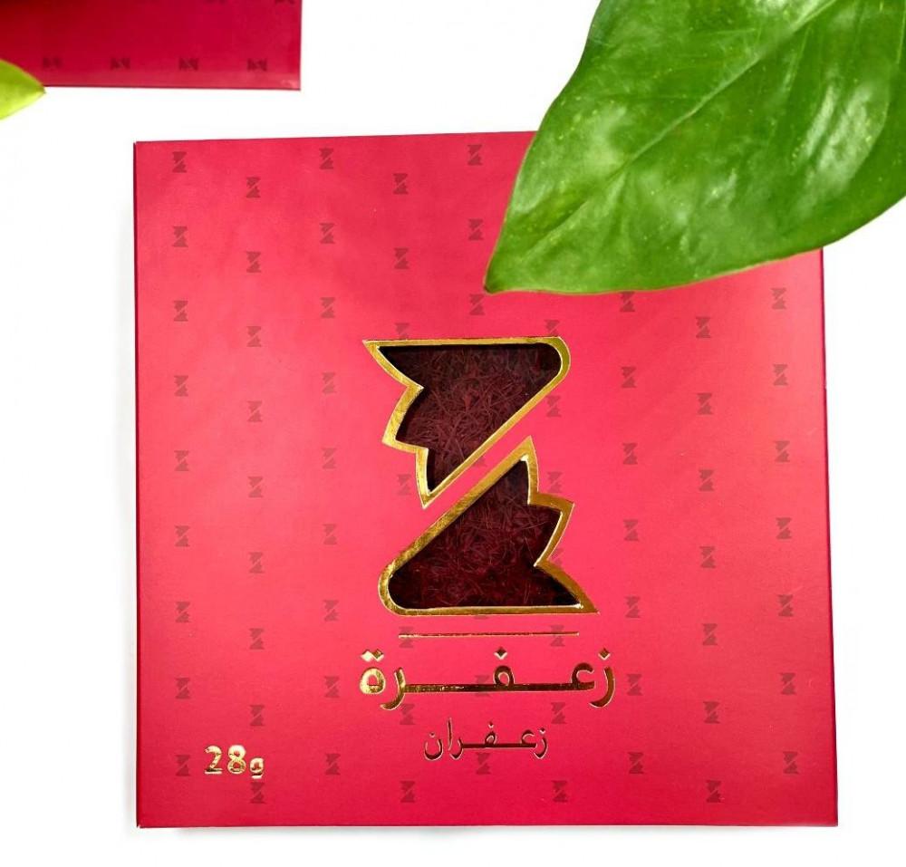 علبة حمراء  تحتوى على زعفران سوبر نقيل صافي ونقي وزن 28 جرام