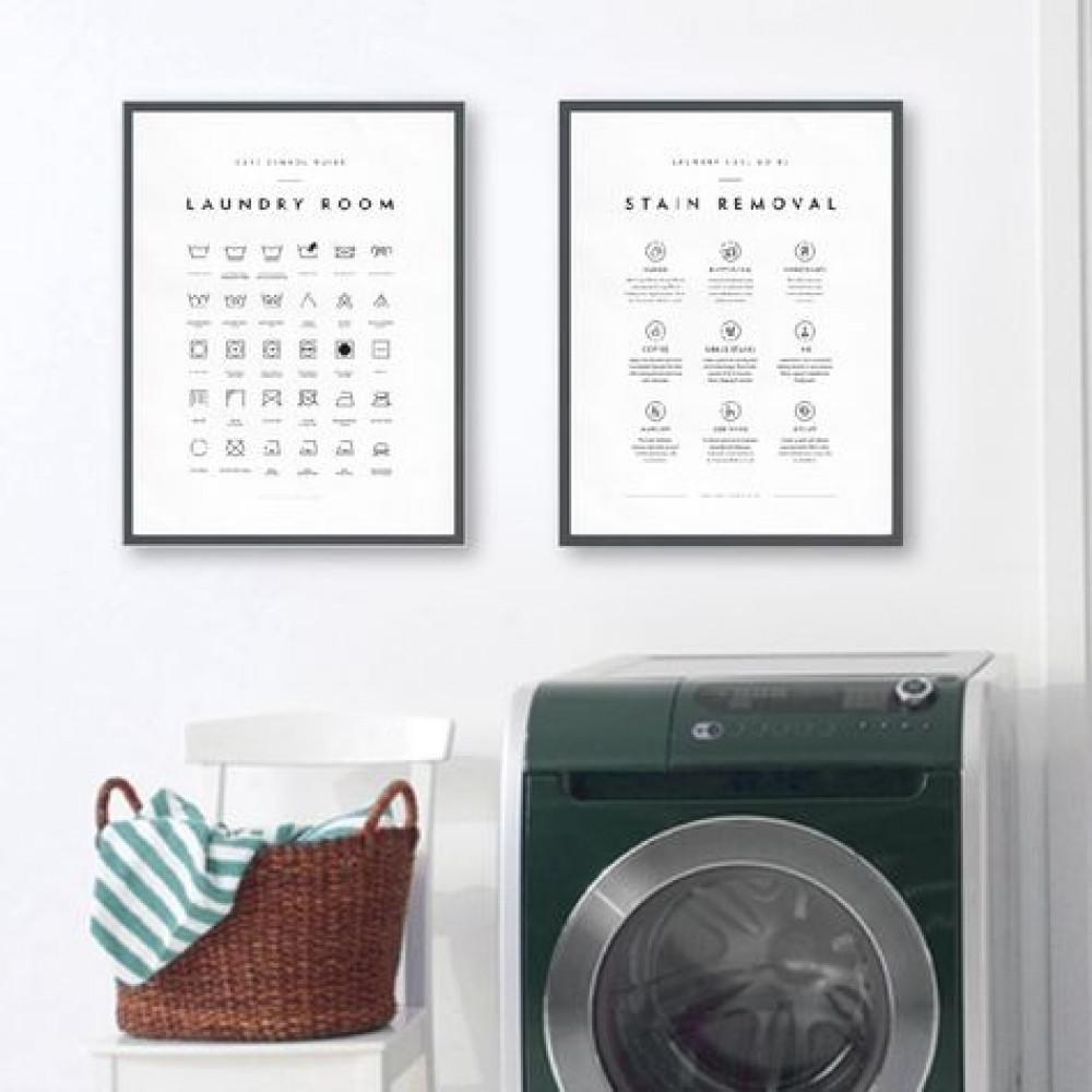 لوحات فنية لتجميل تصميم ديكور جدران غرفة غسيل الملابس بأفكار ملهمة