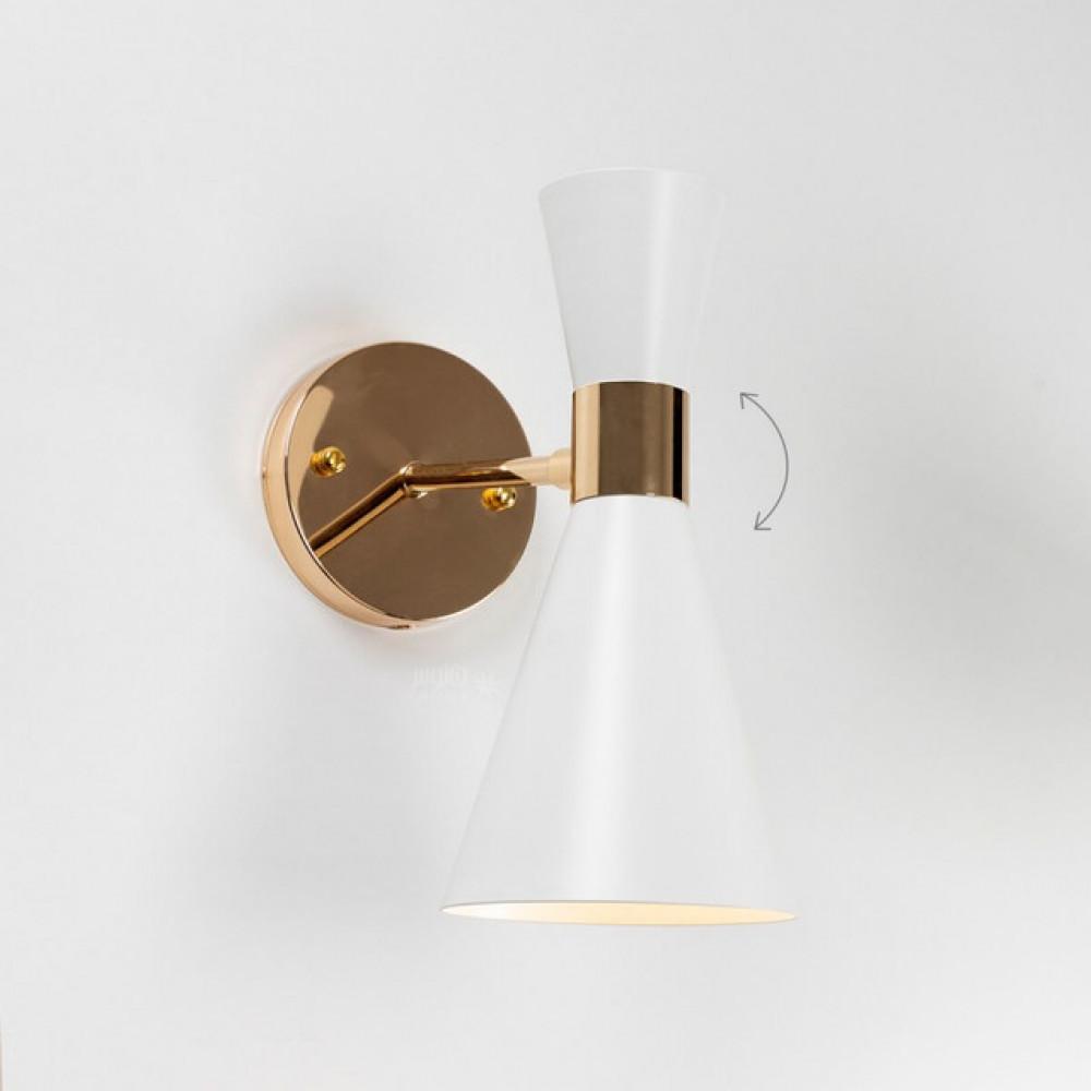 اضاءة موجهة مخروطية بيضاء بذراع ذهبي - فانوس