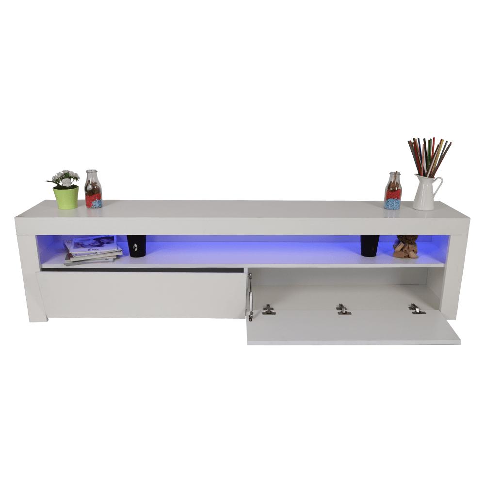 اشتري أفضل طاولة تلفاز خشبية لون أبيض بتنور في الظلام بتجارة بلا حدود
