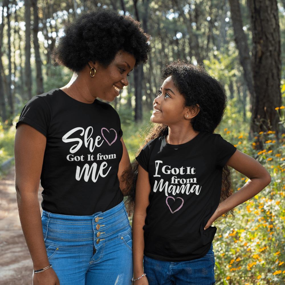 طقم تيشرت اسود للام و الابنة مامي اند مي mommy and me t-shirts