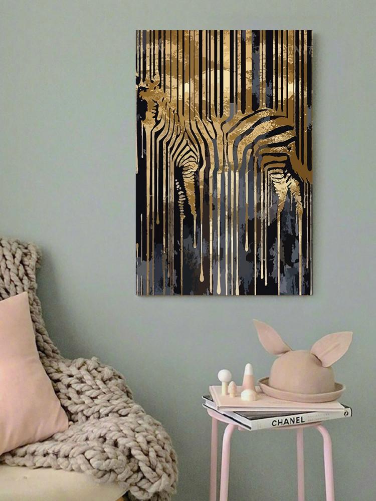 لوحة حمار وحشي ذهبي خشب ام دي اف مقاس 40x60 سنتيمتر
