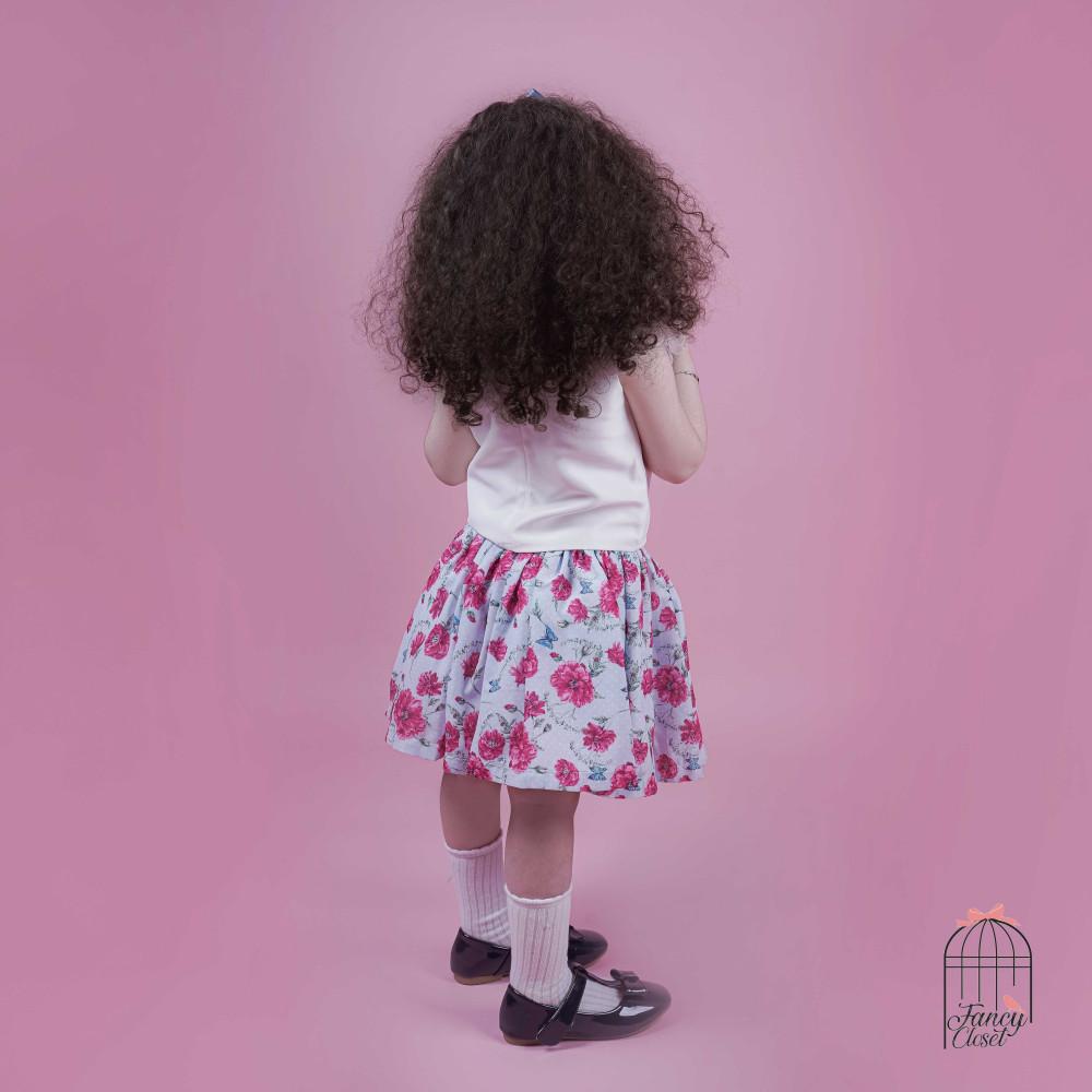طقم تنورة شيفون سماوي وبلوزة ابيض تفته اطفال بناتي