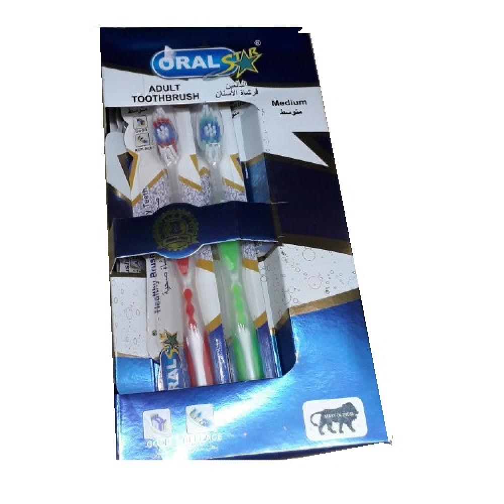 دستة فرشاة اسنان اورال وسط 12حبة Dozen Oral Toothbrush Medium 12 piece