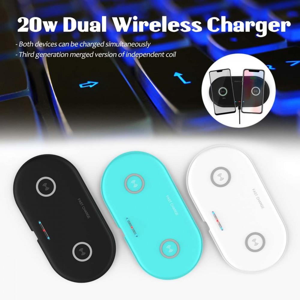 2-1شاحن لاسلكي ثنائي بقوة 20 واط يدعم الشحن السريع للهواتف الذكية ابيض