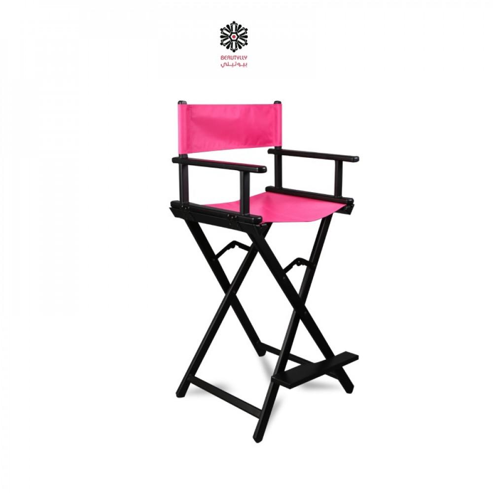 كرسي مكياج متنقل أسود مع قماش وردي غامق