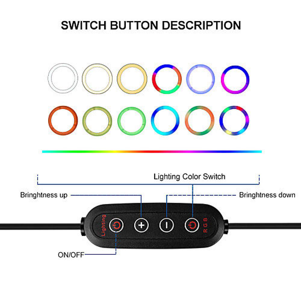 RGB ضوء ملون LED مصباح مصمم على شكل حلقة مع حامل ثلاثي للهاتف