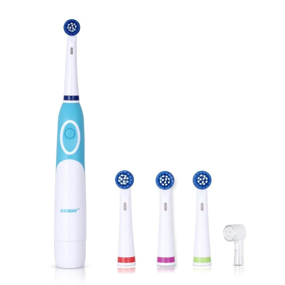 فرشاة أسنان كهربائية من ازدنت 4 أوضاع مع 4 رؤساء استبدال للبالغين ابيض