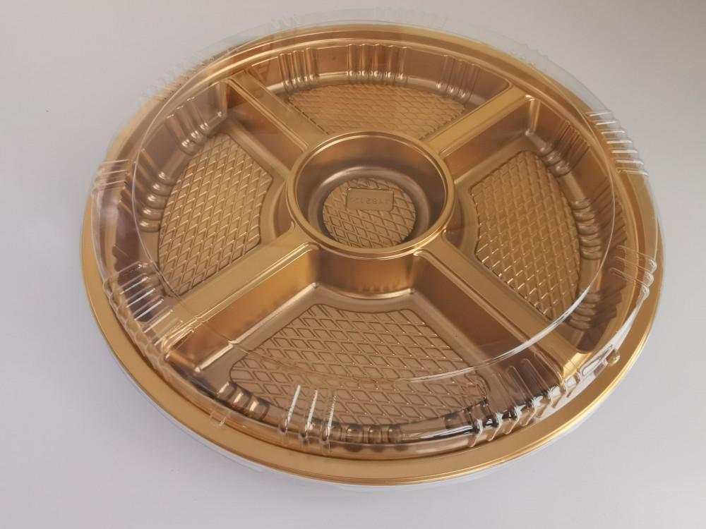 صحن مقسم دائري ذهبي مع غطاء مقاس 31