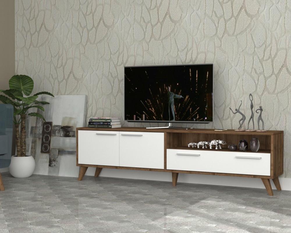مواسم طاولة تلفاز خشبية بوحدات تخزين باللون البني متناغم مع الأبيض