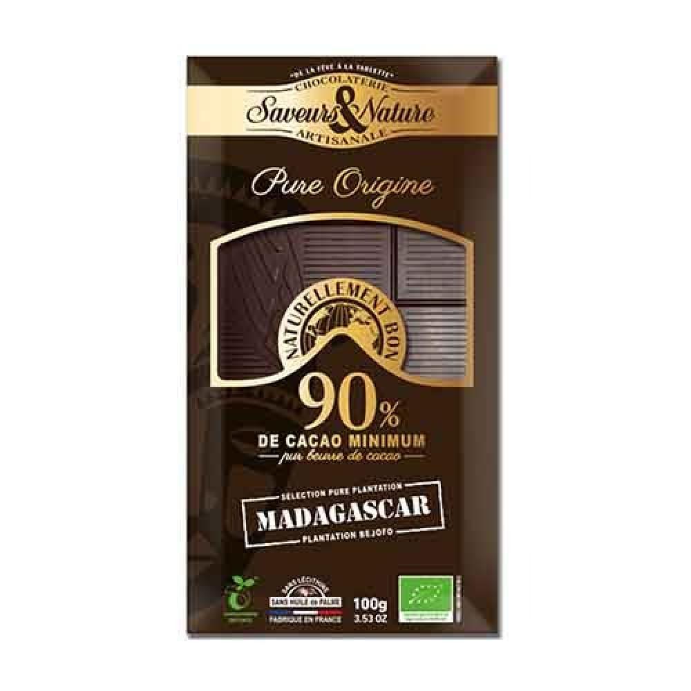 شوكولاتة داكنة 90 كاكاو قليلة السكر عضوي 100 جرام