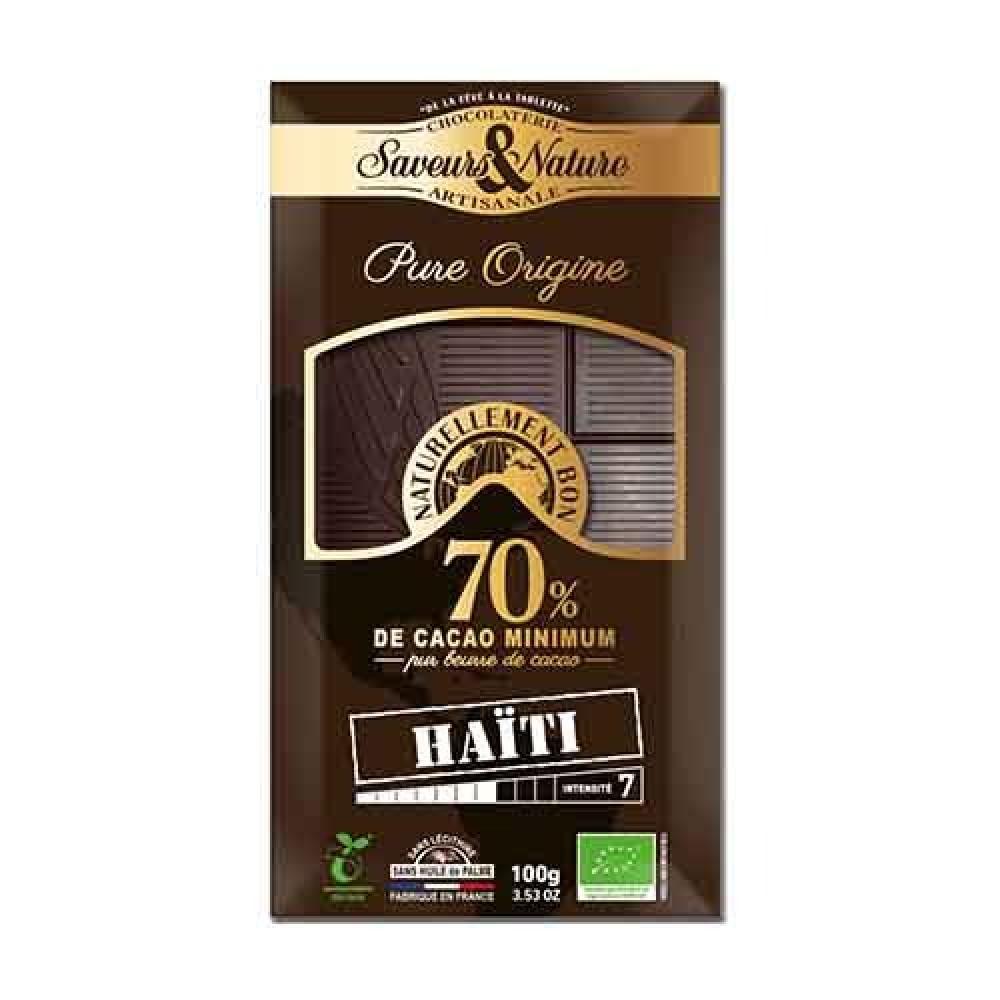 شوكولاتة داكنة 70 كاكاو هاييتي عضوي 100 جرام