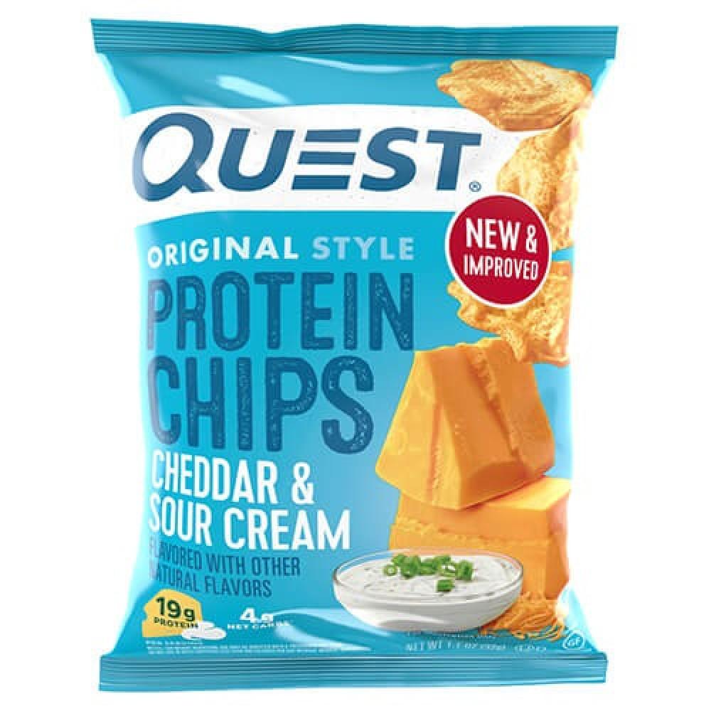 شيبس رقائق بروتين بنكهة جبنة الشيدر والكريمة الحامضة 32 جرام