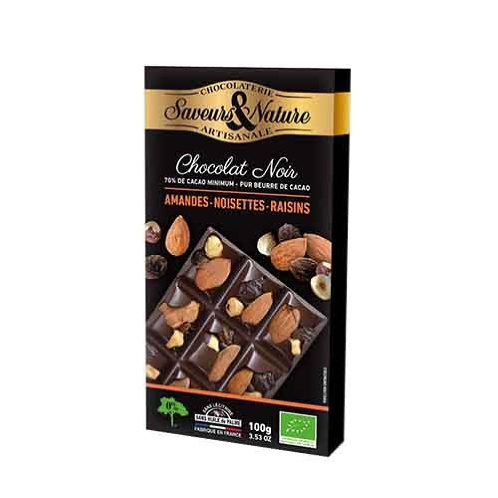 شوكولاتة داكنة 70 مع البندق و اللوز و الزبيب 100 جرام