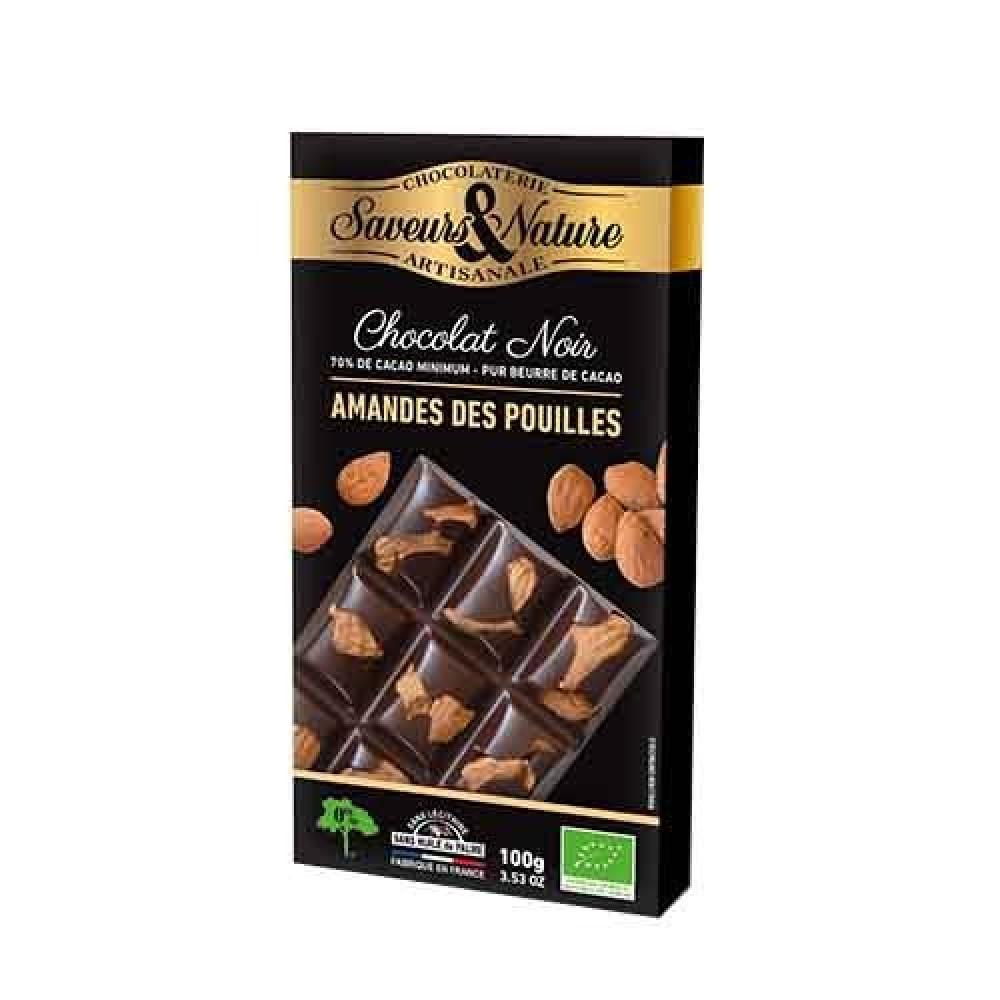 شوكولاتة داكنة 70 مع اللوز الكامل عضوي 100 جرام