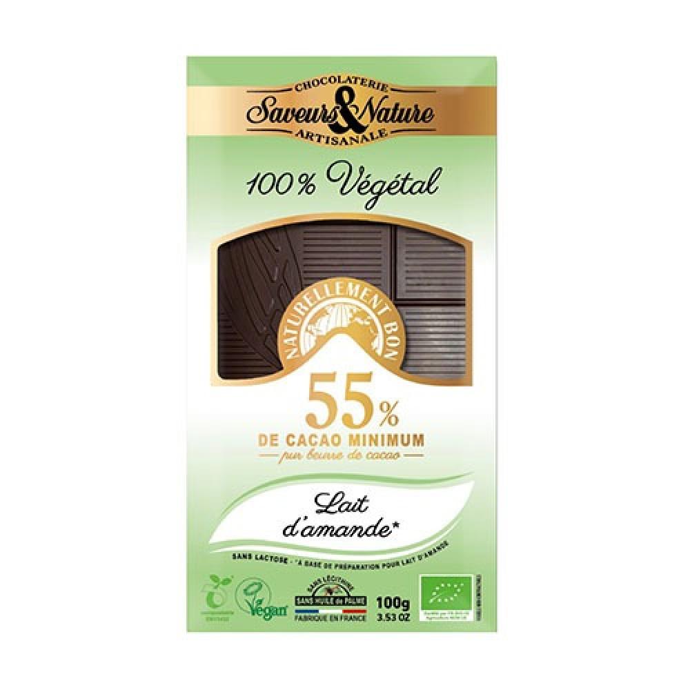 شوكولاتة داكنة 55 كاكاو مع حليب اللوز عضوي 100 جرام