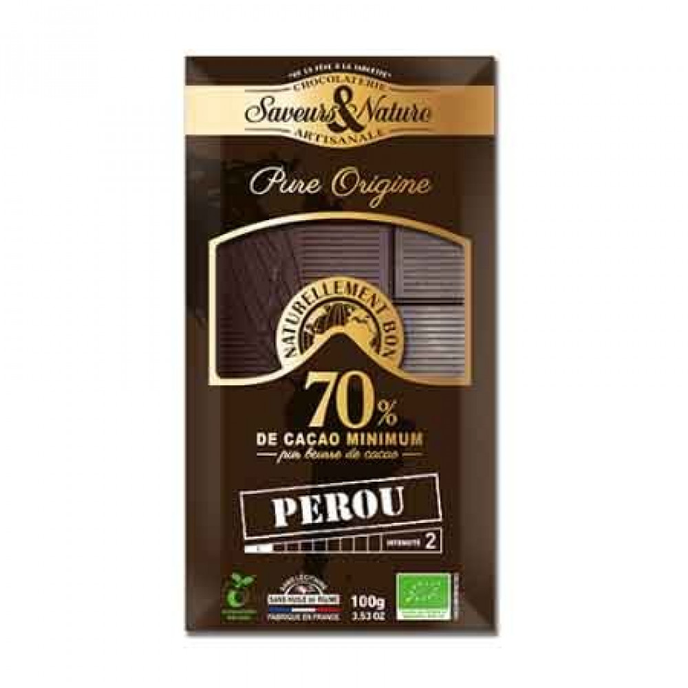 شوكولاتة داكنة 70 كاكاو بيرو عضوي 100 جرام