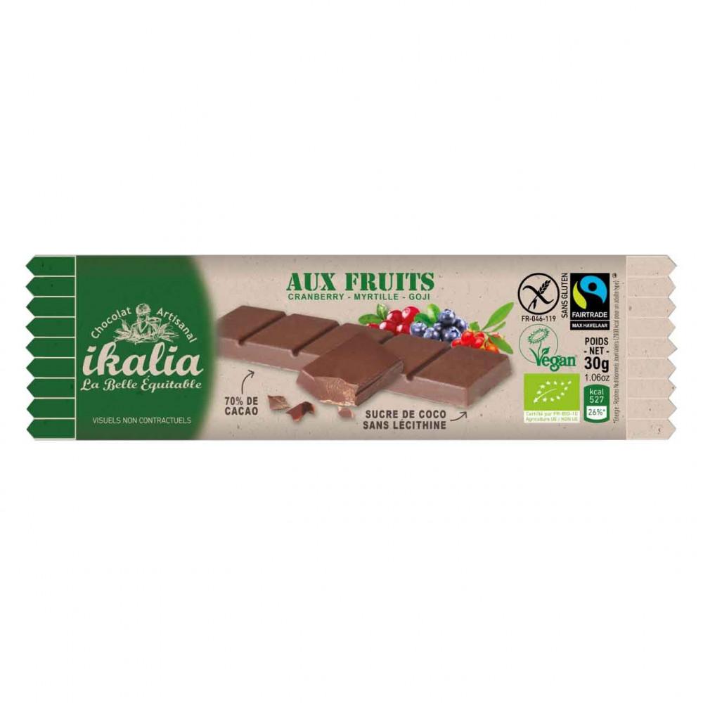 بار شوكولاتة الداكنة 70 مع التوت المشكل 30 جرام