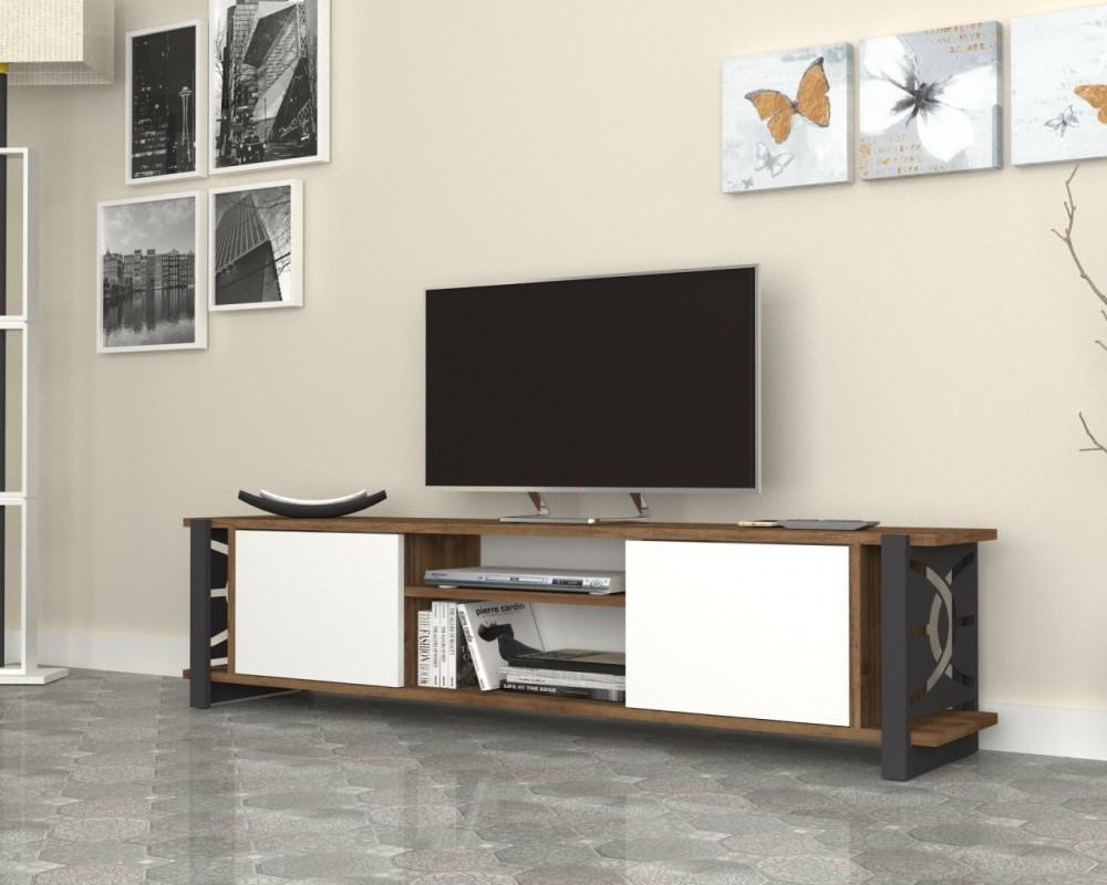 واسم طاولة تلفاز بالألوان  العصرية باللون البني والأبيض والأسود