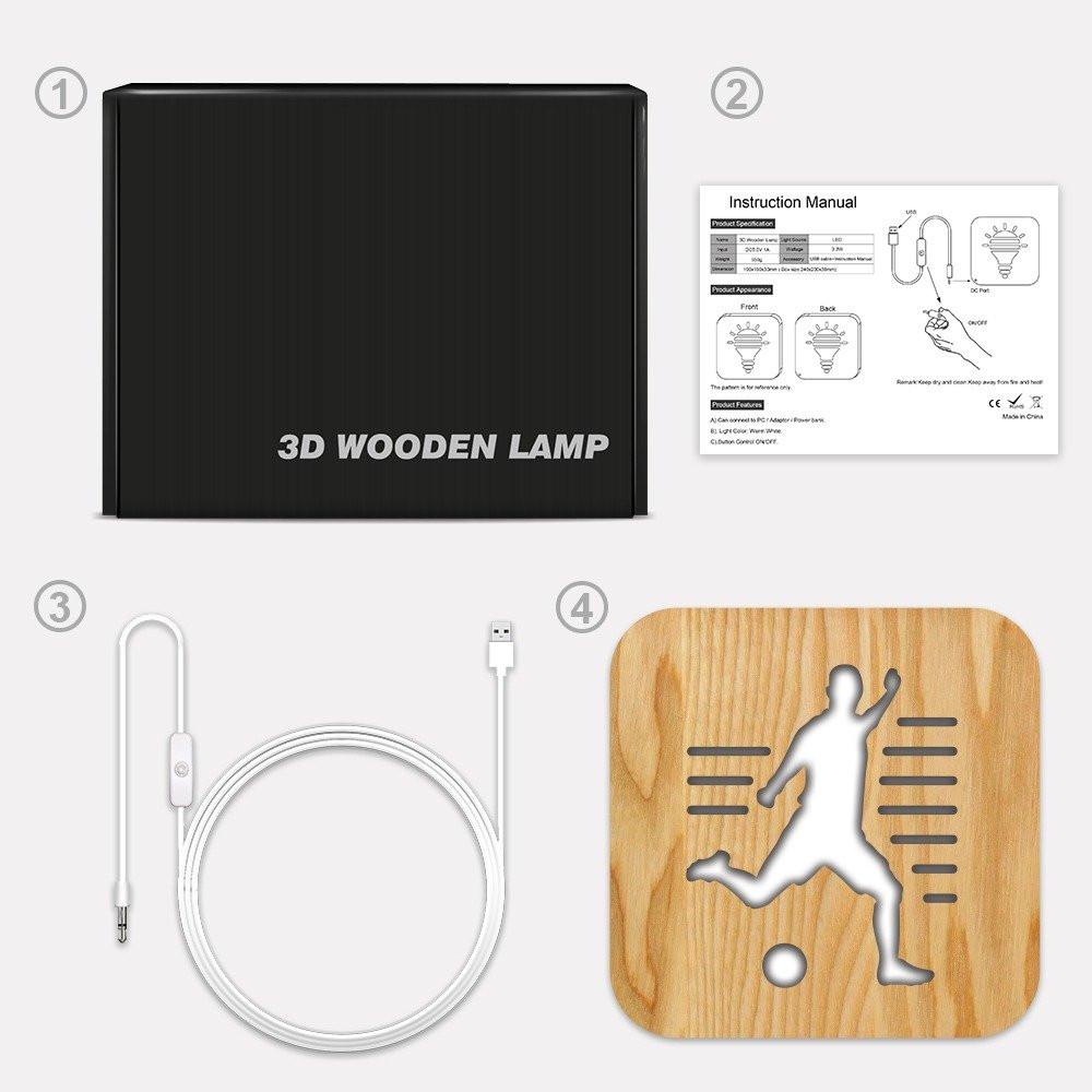 مواسم تحفة لاعب كرة مضيئة خشبية بيان توصيل الإضاءة وتركيب التحفة