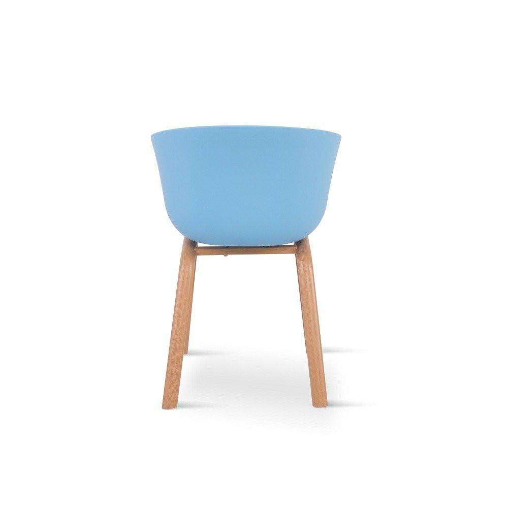 الكرسي بزاوية من الخلف جميل ومميز من طقم كراسي لون أزرق 4 قطع من مواسم