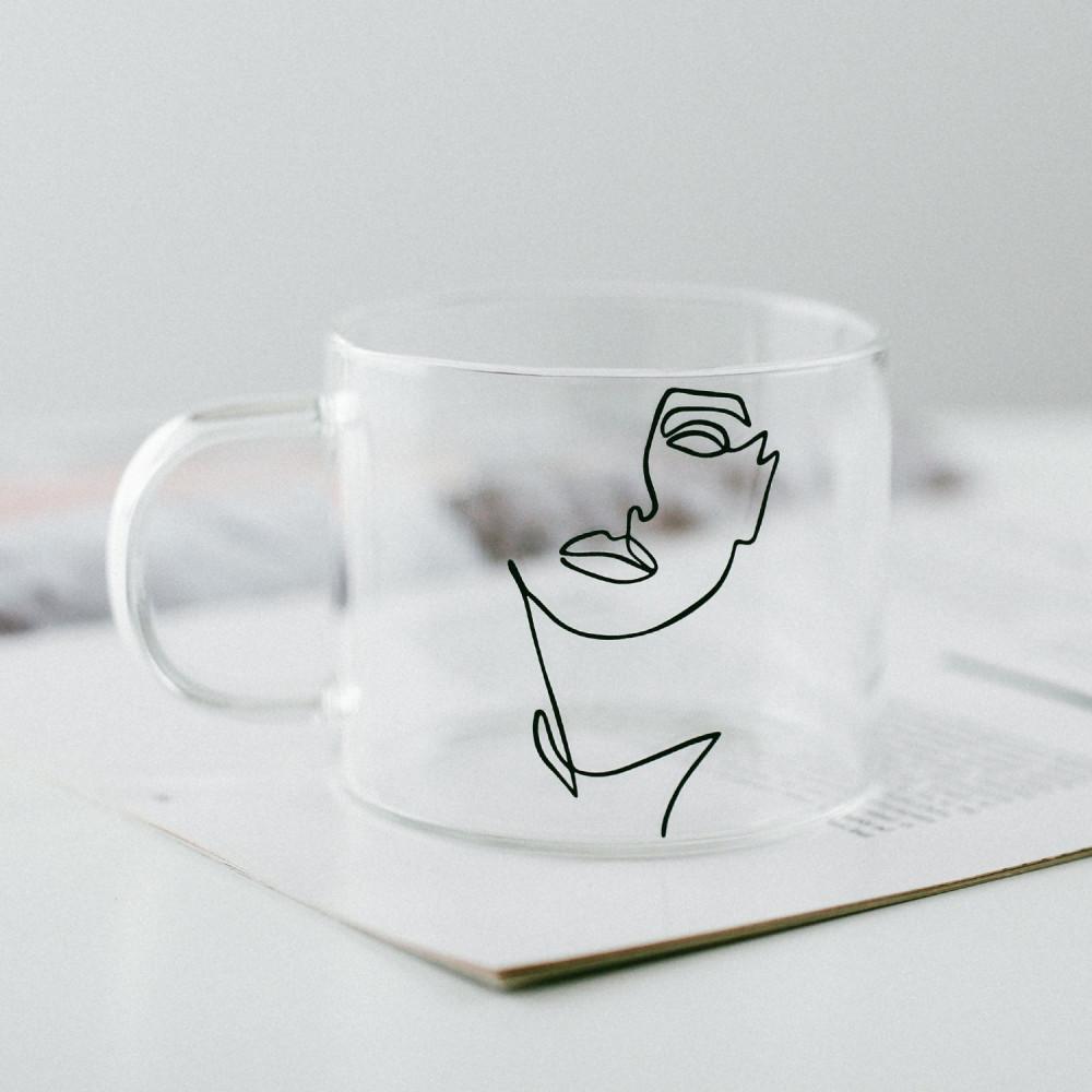 أكواب زجاج كبيرة كوب قهوة زجاجي شفاف قزاز أكواب للقهوه women رسم يدوي
