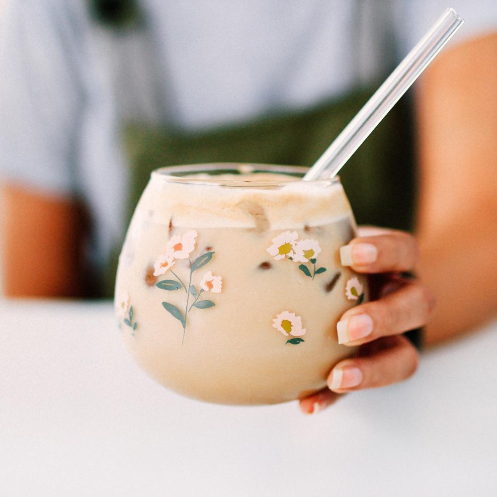 كوب قزاز نقشة زهور طريقة عمل قهوة باردة كوب قهوة زجاجي أكواب القهوة