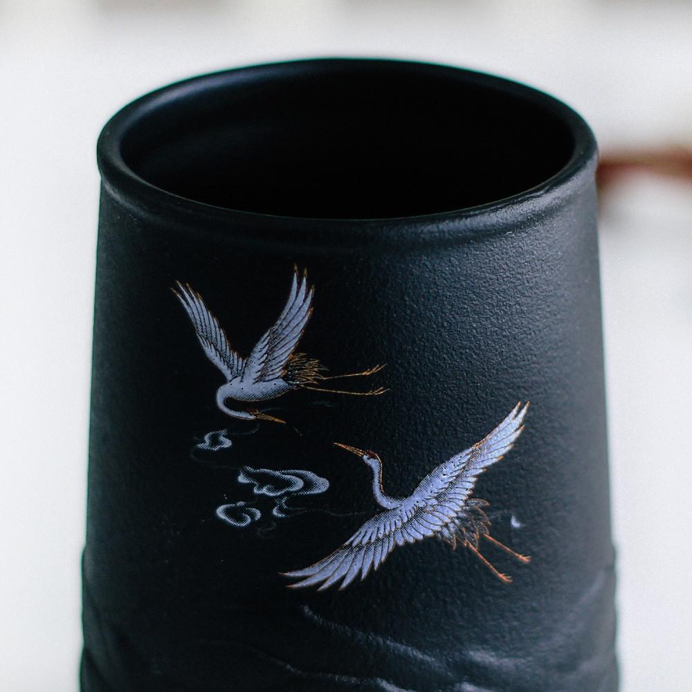 أكواب لاتيه كوب قهوة مختصة أسود فلامنغو طائر النورس أكواب فخار متجر