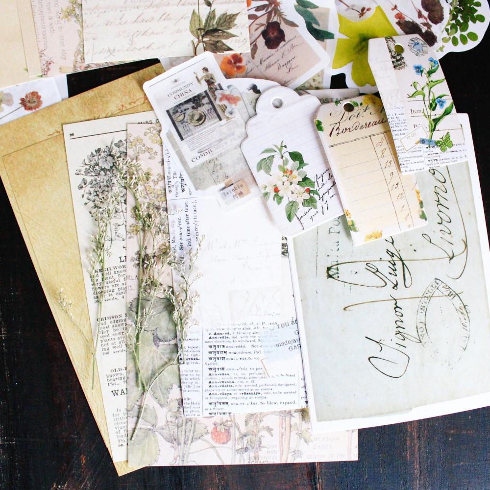 كولاج ستيكرات فنتج نباتات زهور أدوات الكولاج طريقة تصميم الكولاج متجر