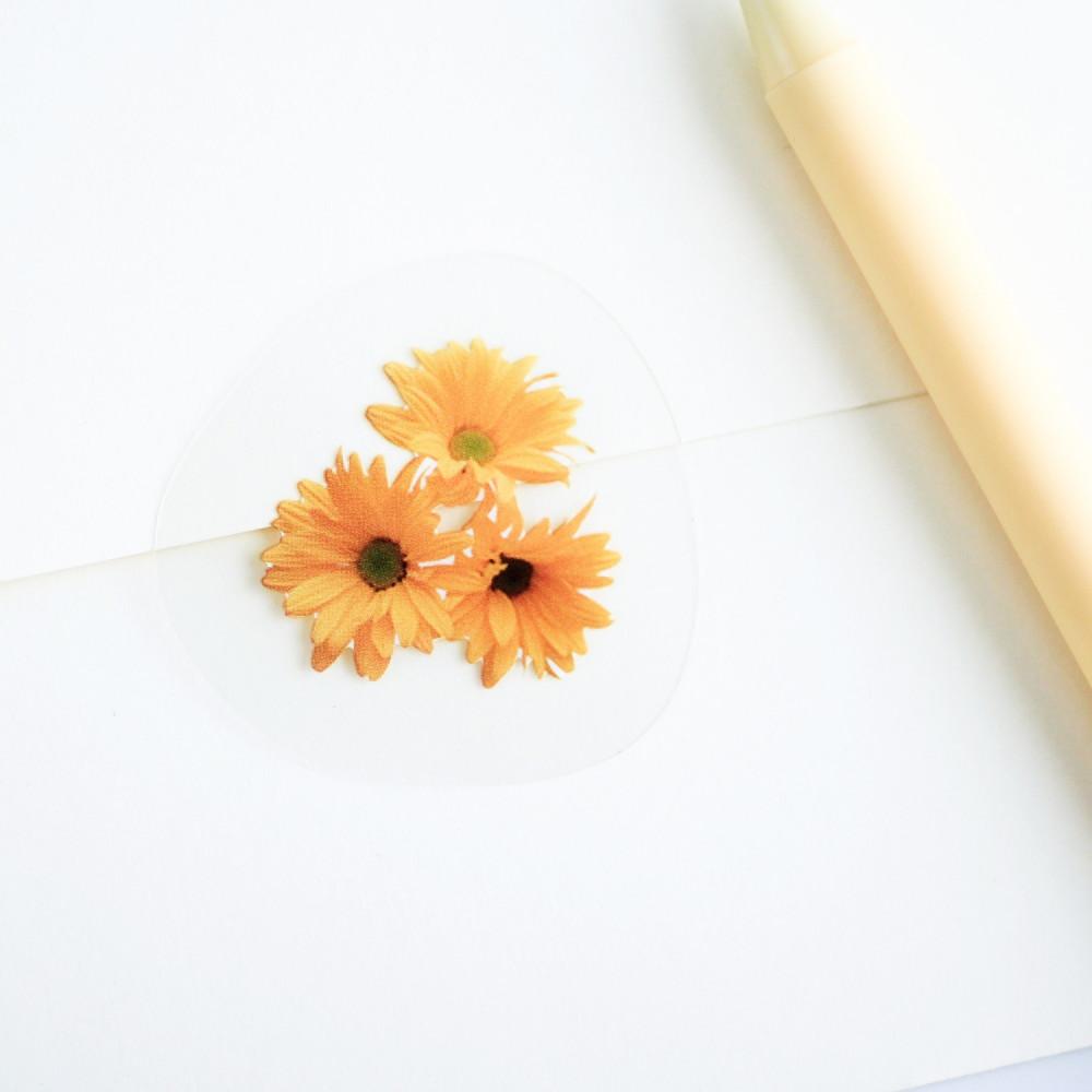 ستيكرات زهور ورد لون أصفر أبيض باقة كيف أزين دفتري أدوات مدرسة مكتبة