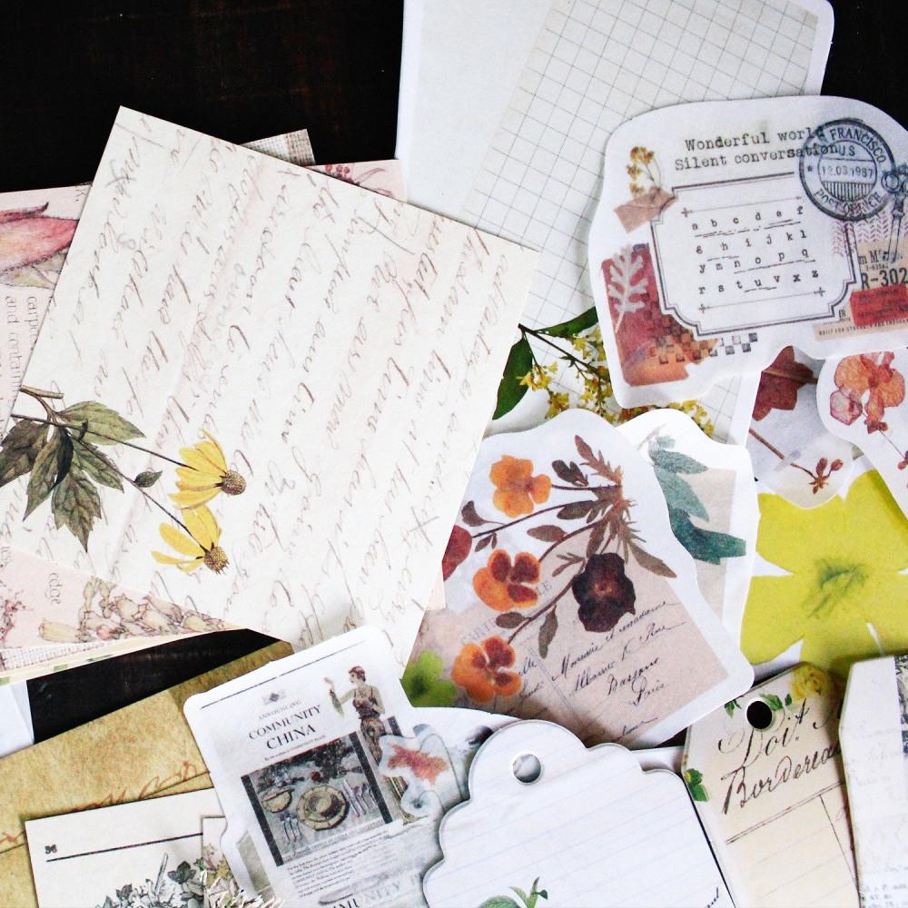 كولاج ستيكرات فنتج أوراق زهور أدوات الكولاج طريقة تصميم الكولاج متجر