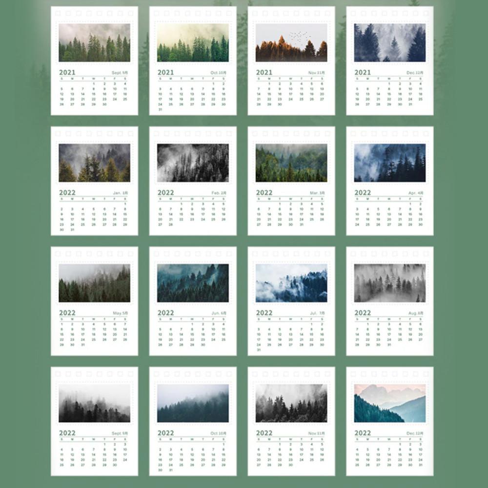 تقويم ميلادي 2022 صور فوتوغرافية ثيم أخضر غابة شجرة تنظيم المكتب هدية