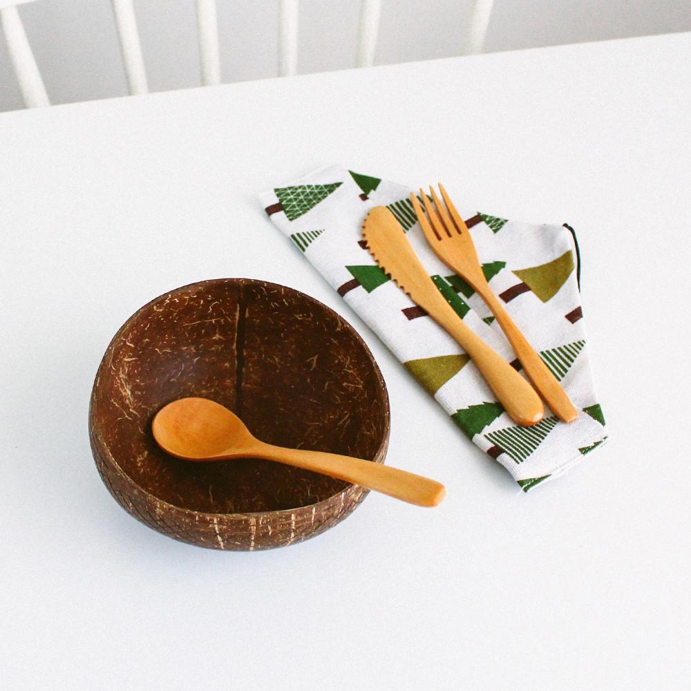 ملعقة خشبية ملعقة شوكة خشب سكين أدوات النباتيين متجر أواني منزلية