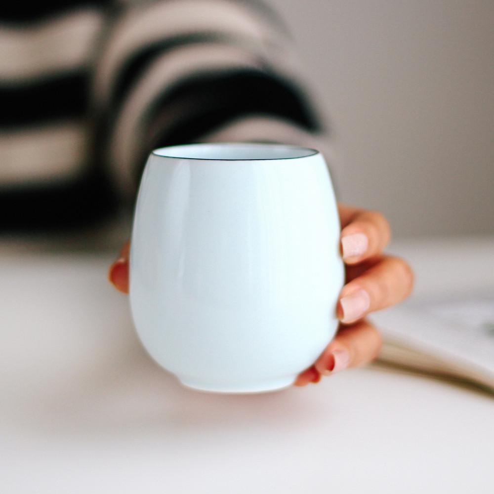 متجر قهوة خزف أكواب قهوة مختصة كوب سيراميك فلات وايت كوب أبيض بيضاوي