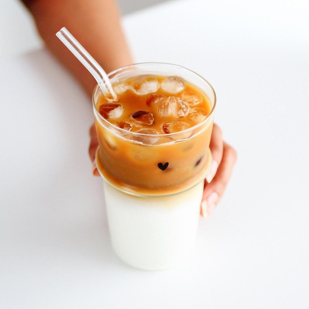 كأس آيسد كوفي كوب زجاجي للقهوة كوب طويل زجاجي كوب قهوة بستاشيو لاتيه