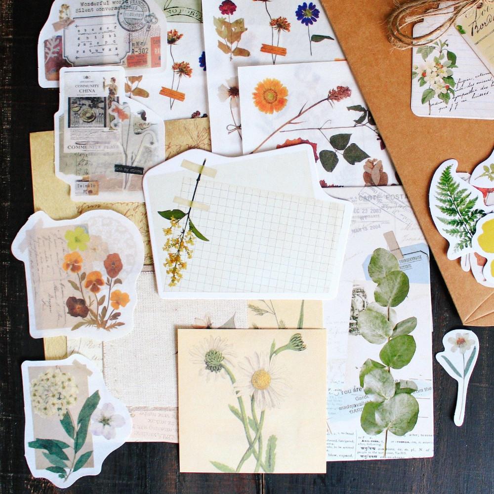 ستيكرات فنتج نباتات زهور أدوات الكولاج طريقة تصميم الكولاج متجر
