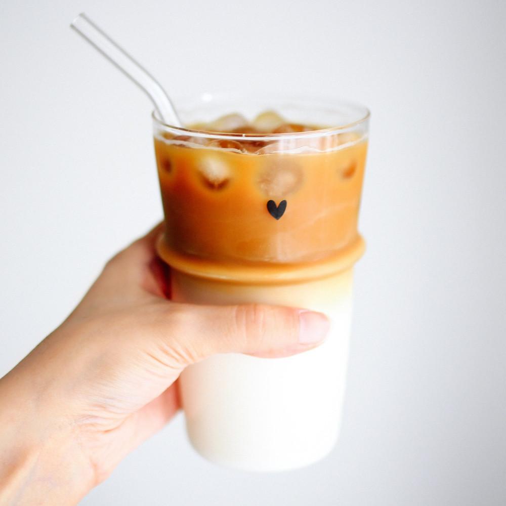 كأس آيسد كوفي كوب زجاجي للقهوة كوب طويل زجاجي كوب قهوة سبانش لاتيه