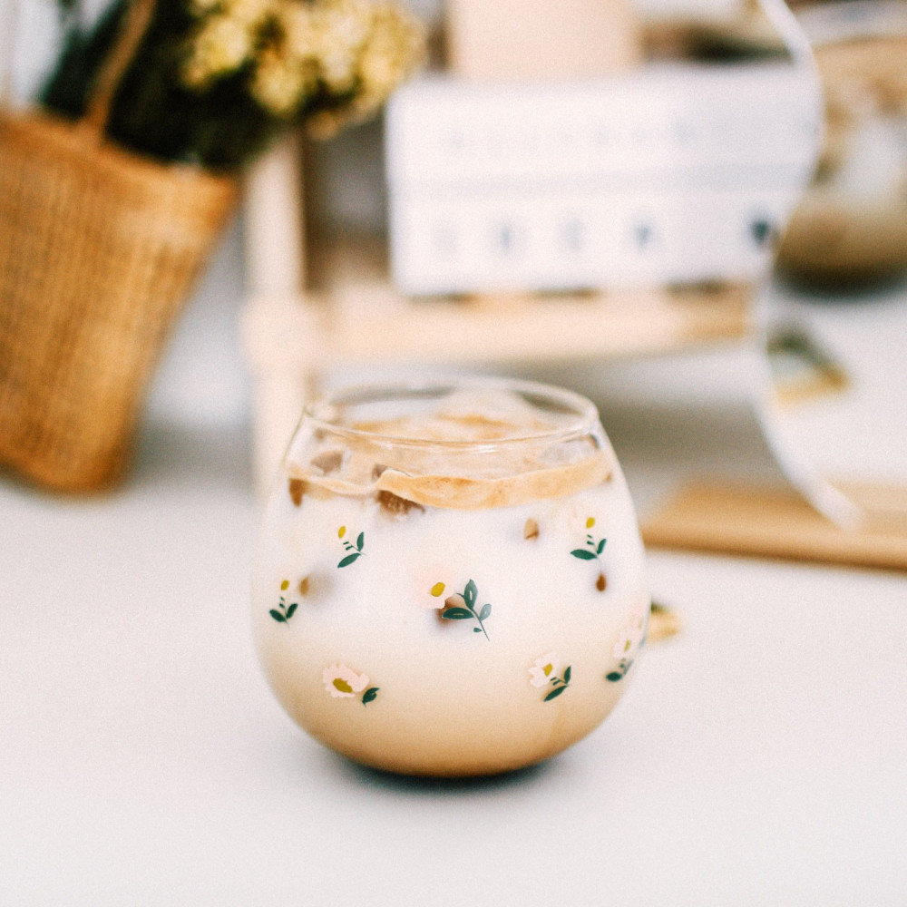 كوب قزاز نقشة زهور طريقة عمل قهوة باردة كوب قهوة زجاجي أكواب زجاجية