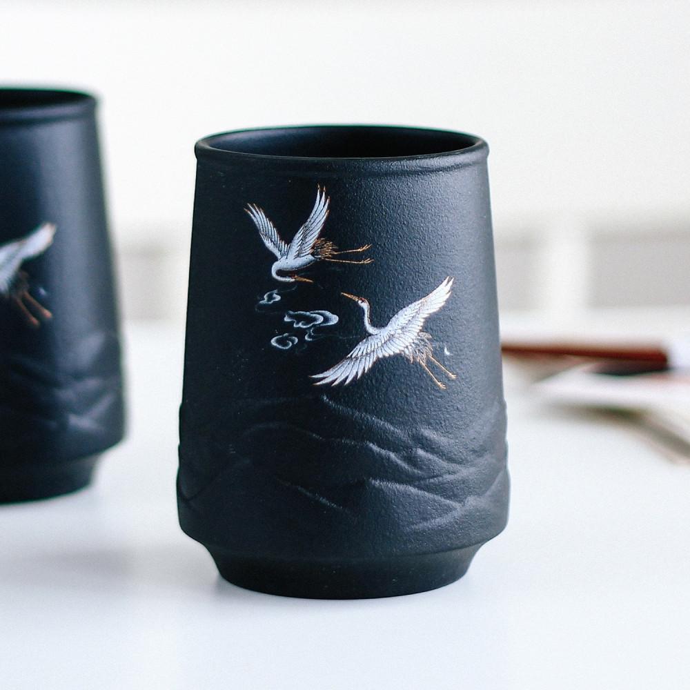 كوب لاتيه كوب قهوة لون أسود فلامنغو طائر النورس بحر أكواب قهوة مختصة