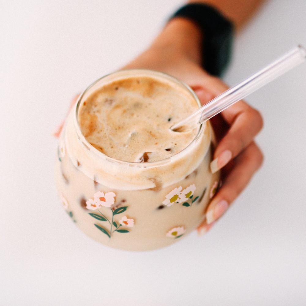 كوب قزاز زهور طريقة تحضير القهوة الباردة كوب قهوة زجاجي أكواب زجاجية