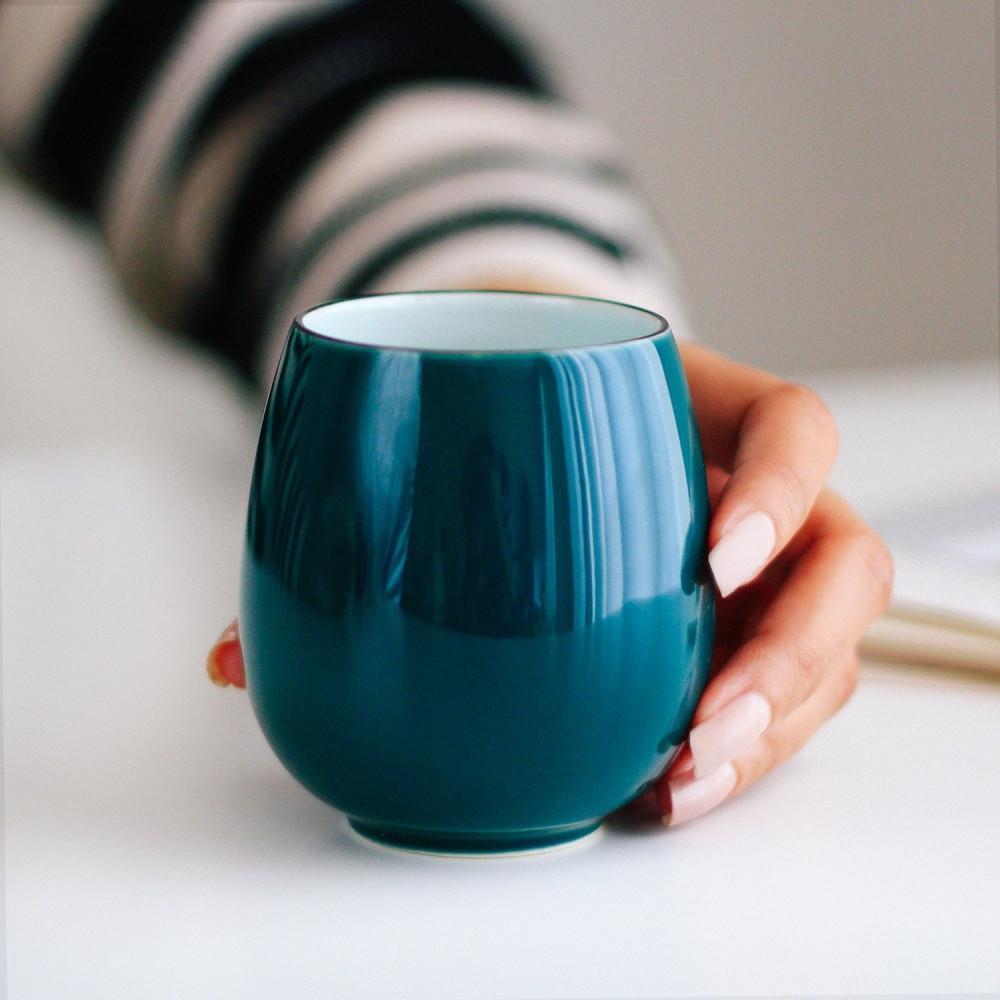 كوب قهوة أكواب سيراميك لون تركواز ركن القهوة كوفي كورنر كوب فلات وايت