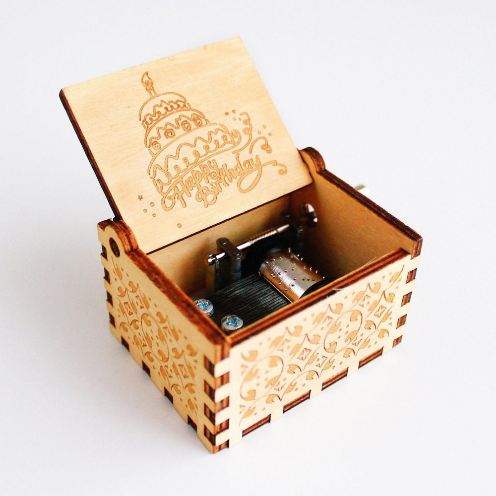 صندوق موسيقى خشبي Happy Birthday أفكار هدايا عيد الميلاد متجر هدايا