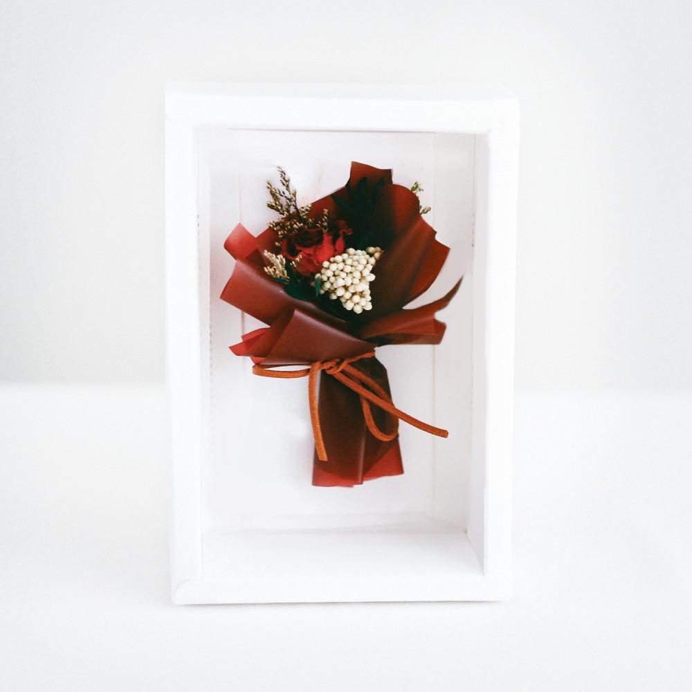 بطاقة هدية باقة ورد أحمر هدايا عيد الميلاد كرت مع ورد مجفف معالج متجر