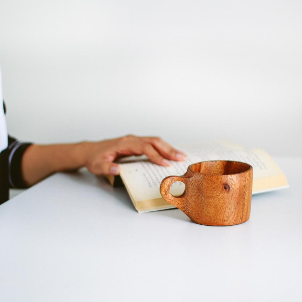 كوب خشب الجوز كوب قهوة أواني خشب ديكور ركن القهوة أفضل نوع خشب متجر